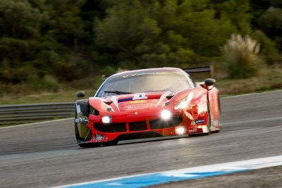 Ferrari F488 GT3 with damage to front