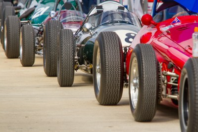 Pre 1966 GP cars line up in the paddock at Silverstone