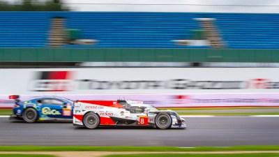 Toyota LMP1 passes TF Sport Aston Martin Vantage