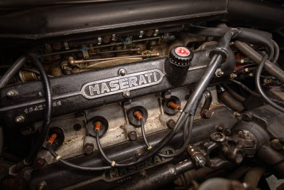 View of the V8 engine of a 1971 Maserati Indy America 4700