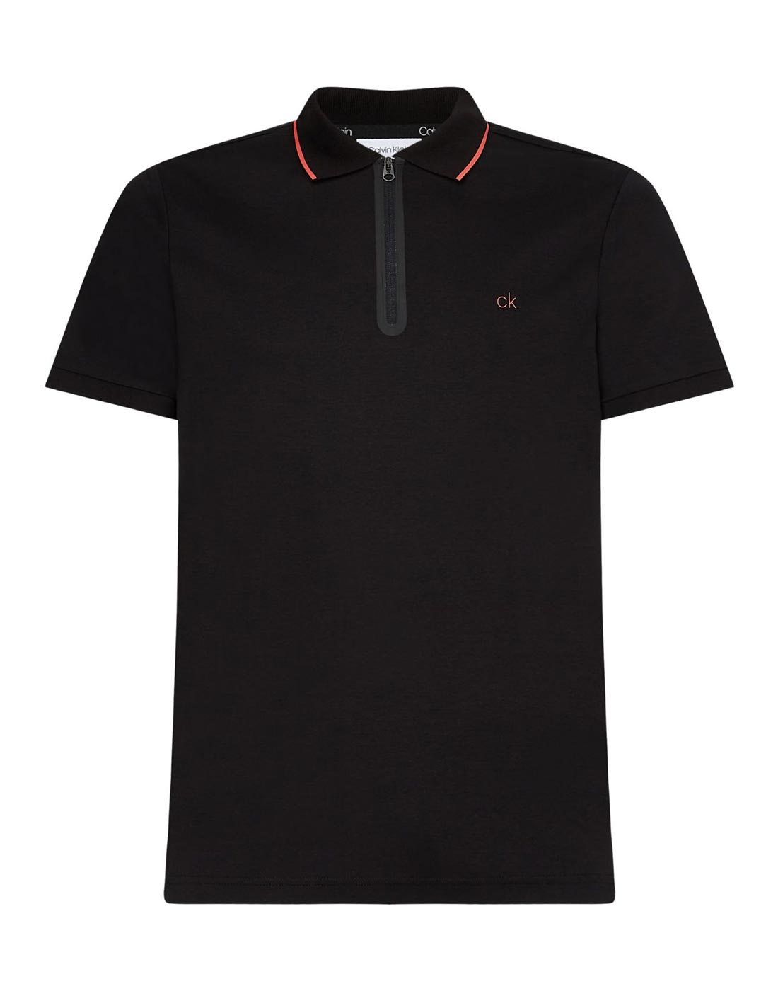 calvin klein black polo with colour collar