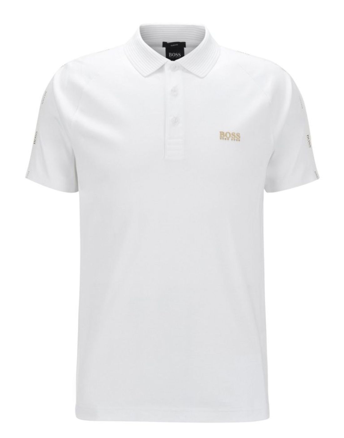 hugo boss white polo shirt with gold logo