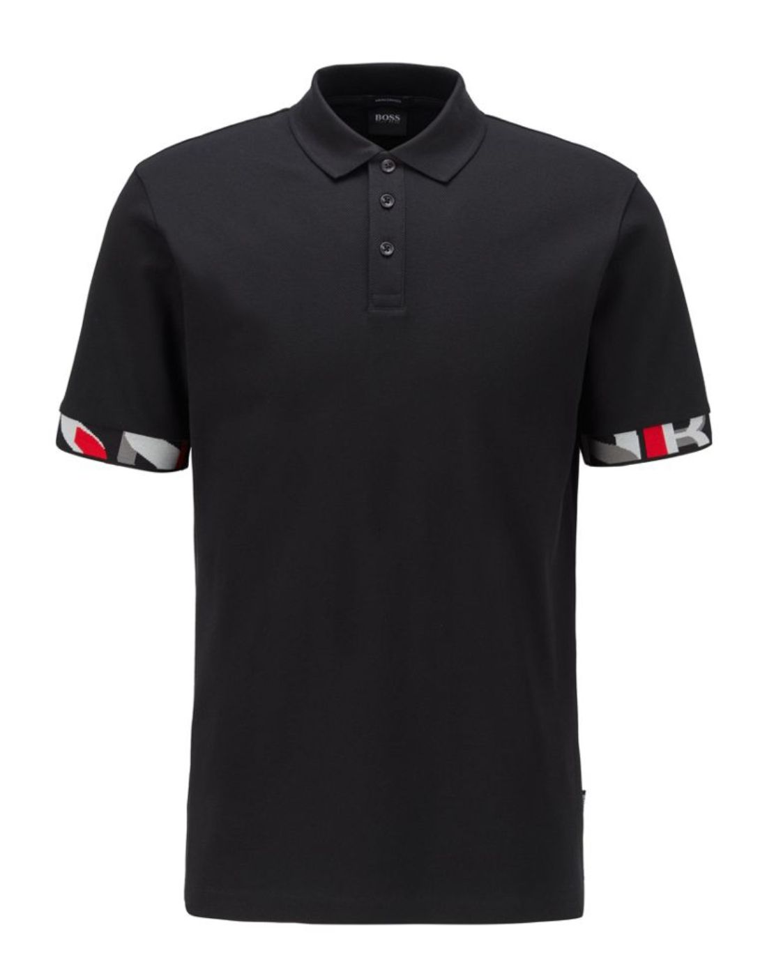 hugo boss black t shirt with coloured sleeve cuffs