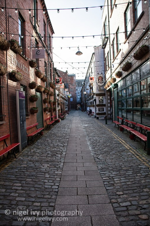 One of the beautiful old streets of the Cathedral Quarter of Belfast City.