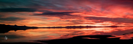 Here's a pano of one of the spectacular sunsets that we got last week on Antelope Island, Utah.