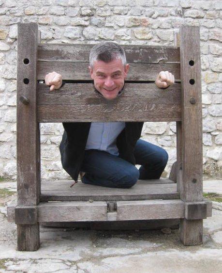 Nigel Yates, in the stocks, Jajce, Bosnia and Herzegovina.