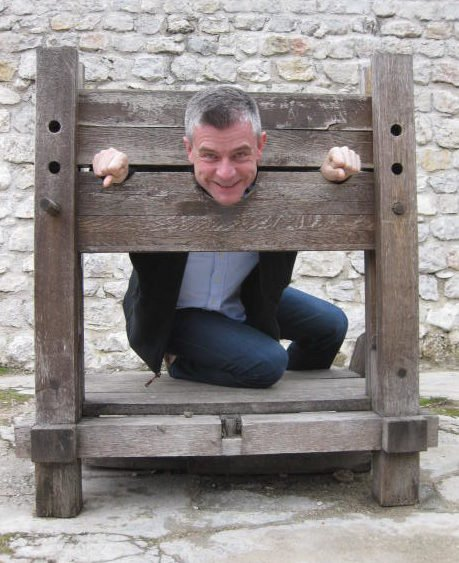 Nigel Yates, in the stocks, Jajce, Bosnia and Herzegovina.