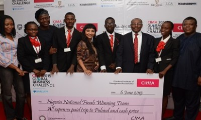 ‎(Left) Ms. Anita Dele-Dickson, ‎head, Relationship Management, Stanbic IBTC Pension Managers Limited, (3rd left) Sir Demola Aladekomo, ‎chairman, SmartCity Resorts Plc,  (middle) Ms. Megha Joshi, CEO, Lagos Court of Arbiration (LCA), (3rd right)  Seni Adetu‎, immediate past MD/CEO, Guinness Nigeria Plc, (right) Laoye Durojaiye‎, director general, Nigerian Economic Summit Group (NESG)  and the national champion of the CIMA Global Business Challenge after the Nigerian finals in Lagos at the weekend.
