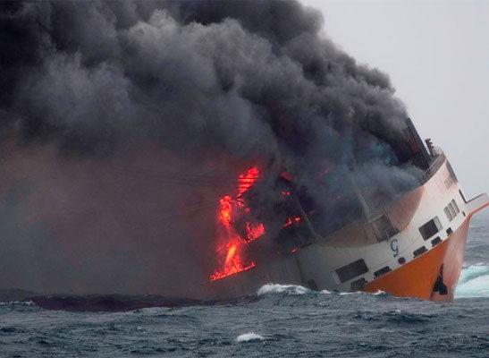 Grimaldi RoRo ship catches fire off Italy