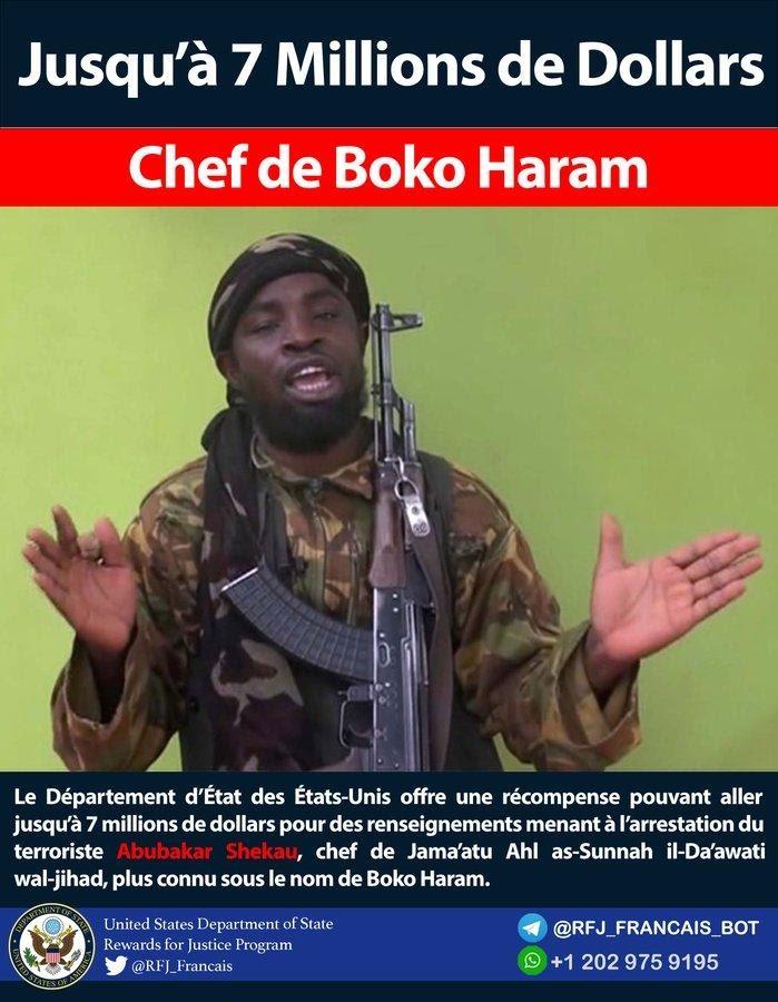 Boko Haram: US offers N2.52 billion reward for leader's arrest