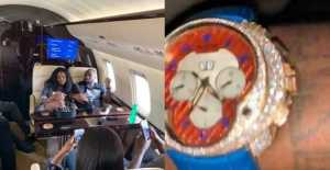 Davido Flaunts His Newly Acquired Over N90 million Diamond Encrusted Wristwatch (Photos)