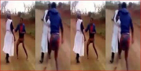 lady beats her mother, lady beats her mother video