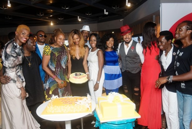 Millen Magese surprise birthday celebration at LoudNProudLive with Linda Ikeji (white attire), Ngozi Omambala MD loudNProudLive, Susan Peters