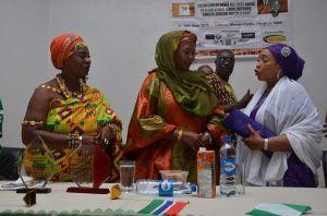Queen Mother Nana Awindor, HE Fatoumatta Jallow,and WOTCLEF Founder Mrs.Titi Abubakar at African Elders and Women Intercultural Dialogue Abuja