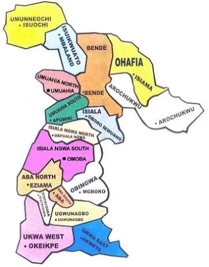 Map of Abia state with details