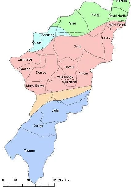 Map of Adamawa State with details