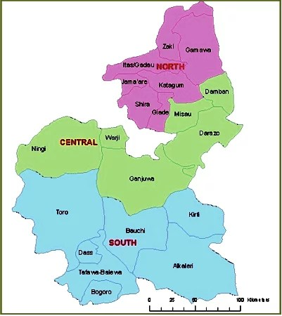 Map of Bauchi State with details