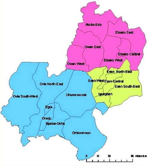 Map of Edo State with details