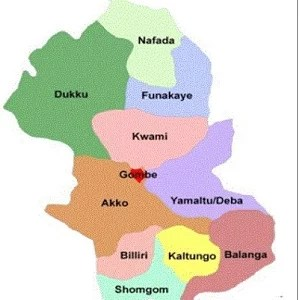 Map of Gombe State with details