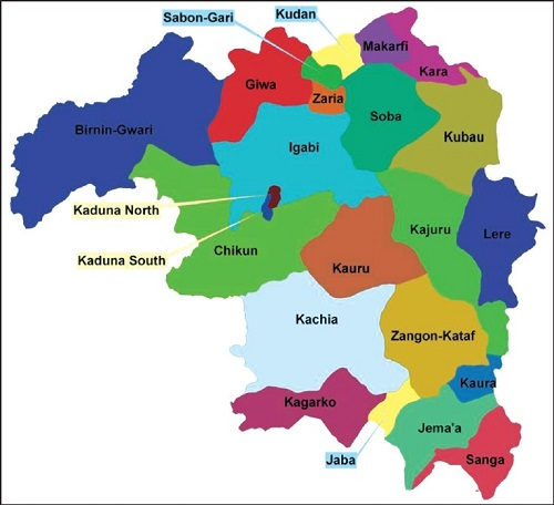 Map of Kaduna State with details