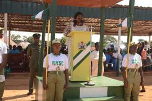 Hon. Ladi Ajene Isegbe Addressing Corps Members Posted to Benue at Wannune Camp.