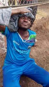 Injured Enyimba FC footballer as a result of the clash in Umuahia Township stadium