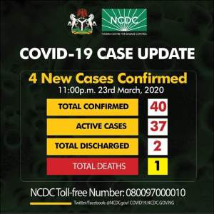 4 New Cases of Coronavirus Confirmed in Nigeria, making it a total of 40 cases