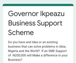 Governor Ikpeazu Business Support Scheme Online Application (2nd Phase)