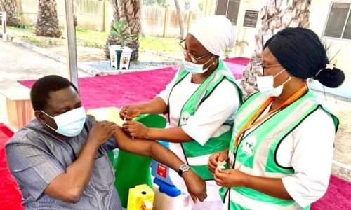 Femi Adesina Receives First Dose of COVID-19 Astrazeneca Vaccine Today in Abuja