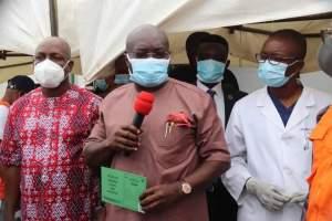 Governor Okezie Ikpeazu after receiving a dose of the COVID-19 Astrazeneca Vaccine