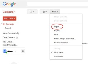 gmail contact import