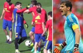See What Happened Between Casillas and Pique During Training