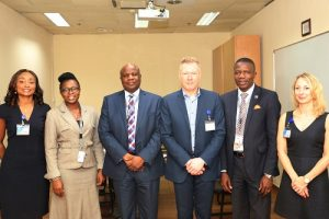 From left: Chief Financial Officer, Bi-Courtney Aviation Services Limited (BASL), Mr. Olusola Olayinka; Director, E & F Services, International Air Transport Association (IATA), Mr. Manfred Blondeel; Head, Aeronautical Services, BASL, Mr. Ralph Uchegbu and Account Specialist, E & F Services, IATA, Mrs. Christine Charlier, during a courtesy visit by a delegation from IATA to the Murtala Muhammed Airport Terminal Two (MMA2), Lagos, on Wednesday.