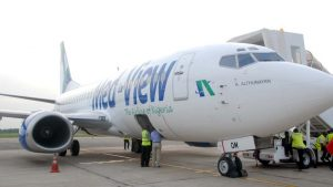 Med View Boeing 737-500 on display at the Murtala Muhammed Airport in Lagos