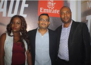 Winners of the Competition, Busayo Ogunshina, and Adetula Abiodun, with the Emirates Regional Manager West Africa, Mr Manoj Nair, at the Emirates Cinema Grand Finale Event