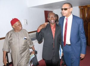 L-R: Vice President, Aviation Safety Round table Initiative, Mr. Thaddeus Obidike; Mr. Chris Alegbe and Senate Chairman on Privatisation, Senator Ben Murray Bruce, during the Stake holders' conference on Privatization/Concession of Nigerian Airports, in Lagos