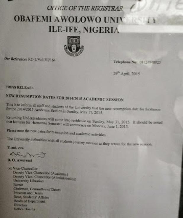 OAU Adjusts 2014/2015 Resumption Date