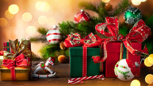 Image of Christmas gifts, boxes and tree