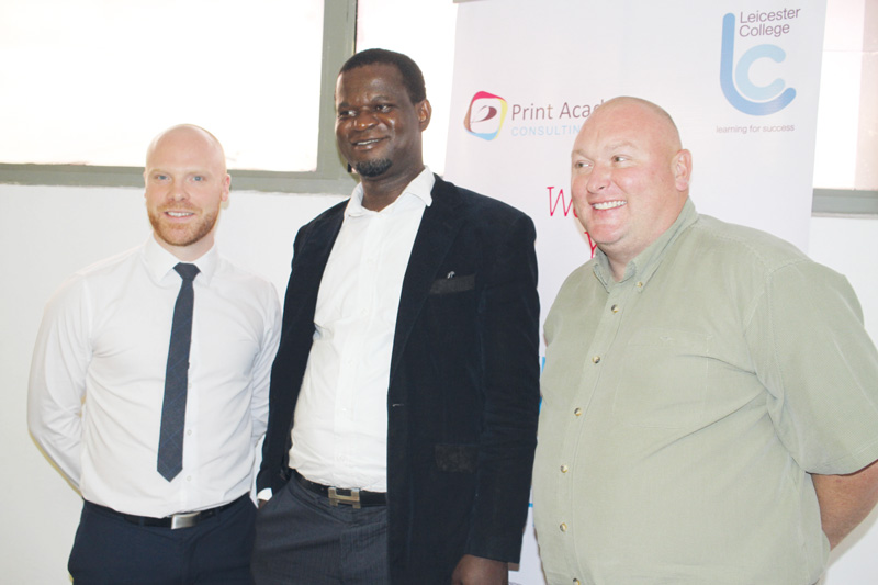 L-R: Chris Spooner; Leicester College UK Facilitator, Tony-Imomoh; MD/CEO, Print Academy Consulting Ltd and Alex Bond; Leicester College UK Facilitator