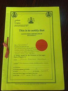 Yellow CofO Lagos