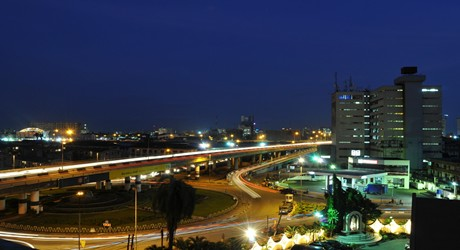 Falomo Roundabout as seen at night
