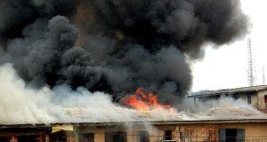 fire guts plaza in Balogun Market