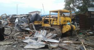 Task force demolishes suspected criminal hideouts in Lagos