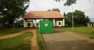 Lebanese block entrance to Games Village Estate, Abuja