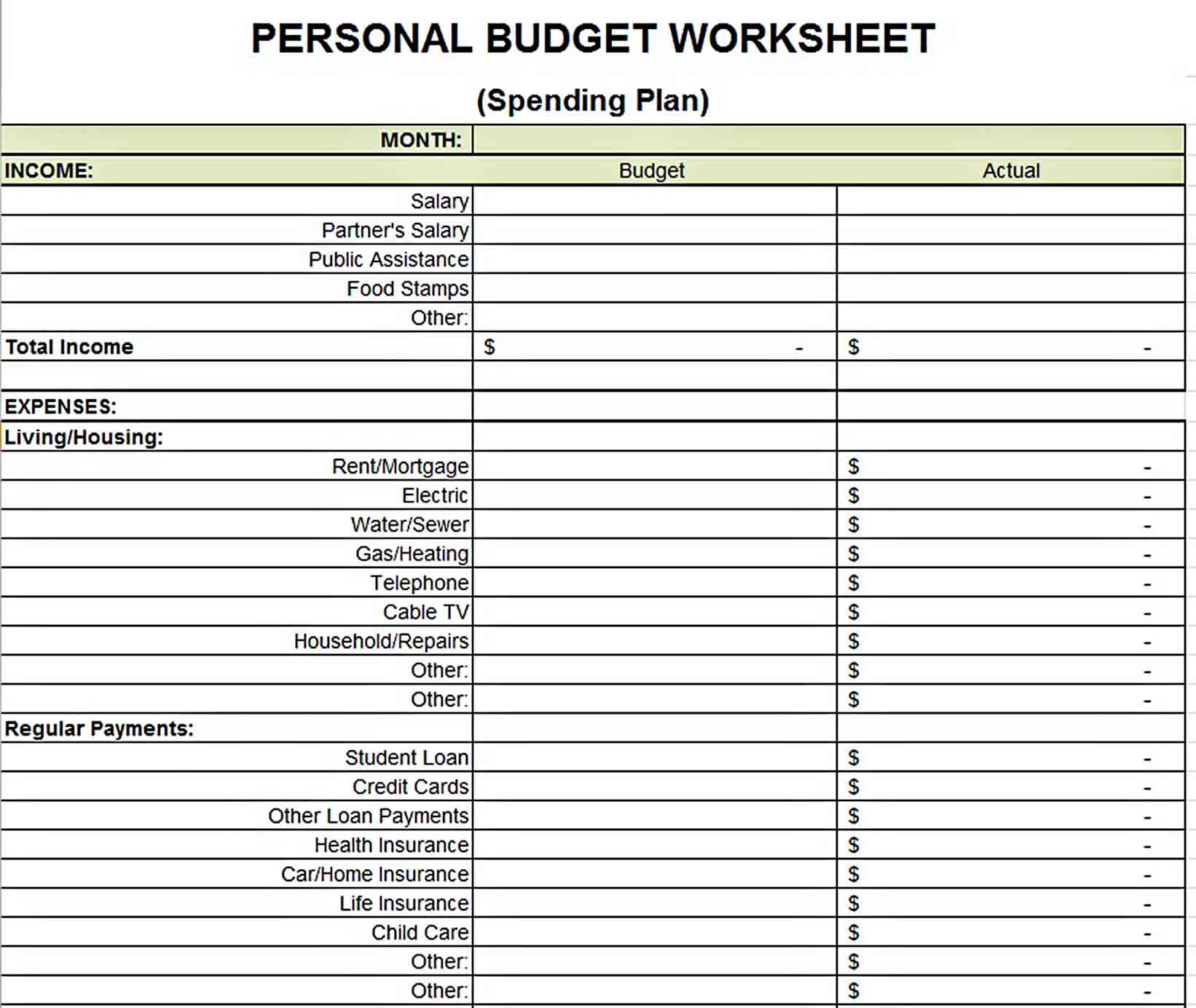 Printable Budget Worksheets Template