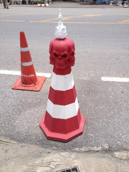 Traffic cones of Wat Rong Khun