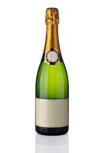Bottle of champagne with label isolated over white
