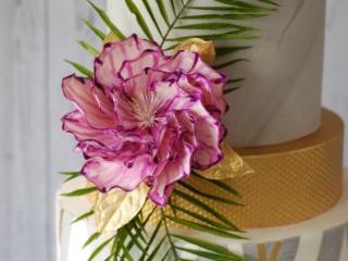 Sugar watercolour flower palm fronds