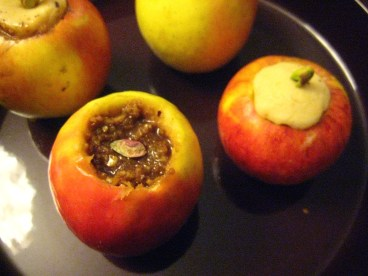 Chopped and whole nut stuffing for baked apples