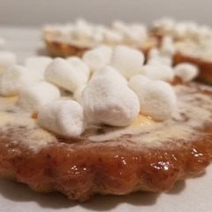 vegan sweet potato tart with marshmellows